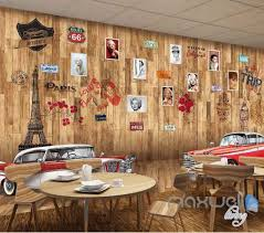 Retro Room Decor by 3d Wood Board Retro Picture Wall Paper Mural Decals Decor Living