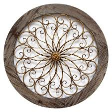 Copper Wall Decor by Round Wood And Copper Metal Wall Decor 24 In At Home At Home