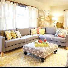 Grey And Yellow Living Room I Love How The L Shaped Couch And The Ottomen Look Together And