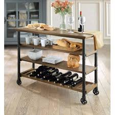 whalen santa fe portable kitchen cart with wine rack rustic brown