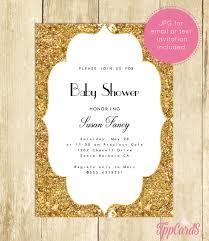 gold baby shower invitation royal glitter confetti custom