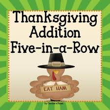 free thanksgiving addition 5 in a row by s planet tpt