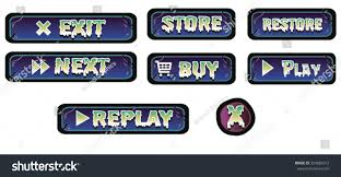 halloween game buttons blue scary cartoon stock vector 354083912
