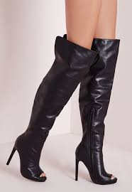 womens boots missguided missguided faux leather thigh high peep toe boots black in black