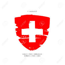 White Cross On Red Flag Swiss Day August 1 Red Coat Of Arms With A White Cross Vector
