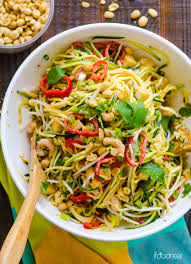 noodle salad recipes pad thai zucchini noodle salad by ifoodreal with half the calories