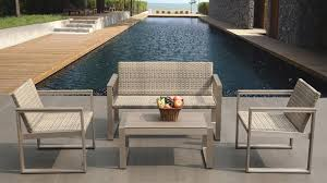 canape jardin aluminium salon de jardin canapé deux fauteuils et table basse pinnath