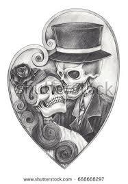 skull heart devil tattoohand pencil drawing stock illustration