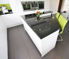 Black Gloss Kitchen Ideas by Second Nature Remo White Gloss Units Black Granite Worktop And