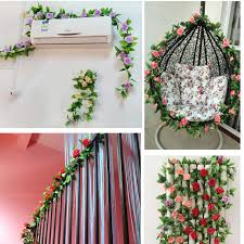 flowers decoration at home wholesale 245cm fake silk roses ivy vine artificial flowers with