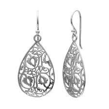 silver teardrop earrings sterling silver filigree teardrop earrings