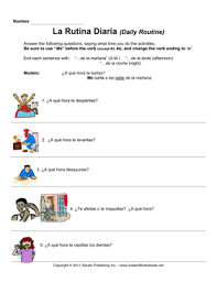 spanish daily routine u2014 instant worksheets