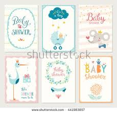 baby shower cards set 6 baby shower cards floral stock vector 441983857