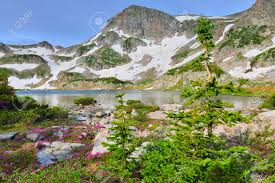 tundra high altitude alpine tundra and a mountain lake in colorado during