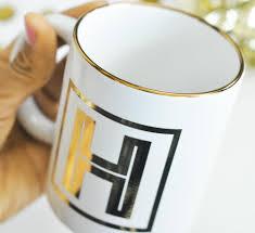 gold monogram coffee mugs u2013 treasures made just because