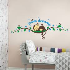 sweet dream sleeping monkey on tree vine wall decal sticker cute monkey wall art cheap wall sticker for kids sweet dream sleeping monkey on