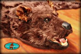 hand made bear skin rug with head faux fur taxidermy