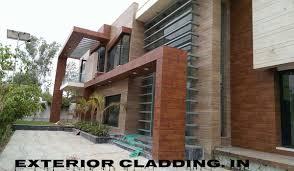 home exterior design in delhi house front elevation facade cladding hpl acp contractors in delhi