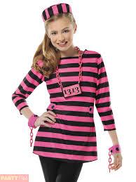 Halloween Inmate Costume Childs Girls Prisoner Costume Teen Convict Robber Fancy Dress
