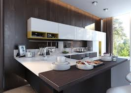 wonderful two tone style kitchen come with dark brown color
