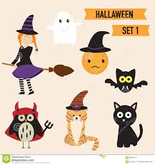 happy halloween background with cute little witch vector stock