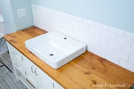 Vanity Top For Vessel Sink How To Build U0026 Protect A Wood Vanity Top A Houseful Of Handmade