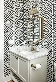 black and white powder room wallpaper contemporary bathroom