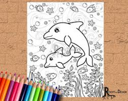 dolphin coloring etsy
