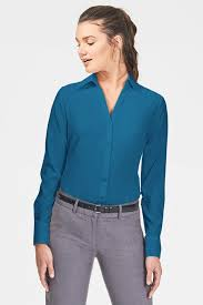 open blouse fitted open neck blouse in coolstretch