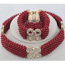african wedding beads necklace images Fashion man long design coral beads sets nigerian african wedding jpg