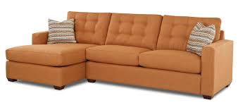 tufted chaise sofa orange small sectional with chaise lounge and tufted backrest