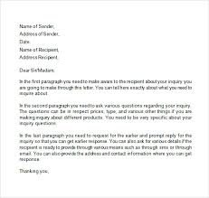 business enquiry letter letter of enquiry business enquiry letter