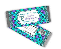 mermaid baby shower mermaid baby shower candy bar wrappers party print express
