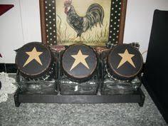 primitive kitchen canisters primitive 3 pc wood canister set handmade by blacksquirrelprims