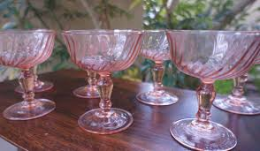 classic barware rosaline pink swirl arcoroc glass chagne coupes set of two
