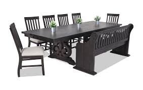 dining room table with storage sanctuary 8 piece dining set with full back storage bench bob s