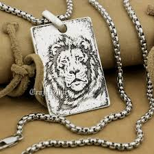mens dog tags engraved high detail engraved customizable 925 sterling silver lion king
