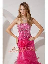 pink mermaid strapless brush ruffles train prom evening
