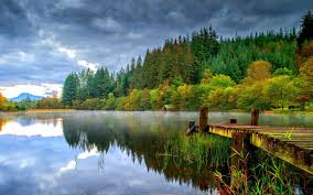 nature lake reflections wallpapers landscape nature dock lake forest dark clouds green trees