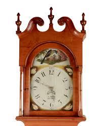 federal period cherry tall case grandfather clock pennsylvania c 1820