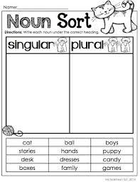 noun sort singular vs plural nouns second grade language