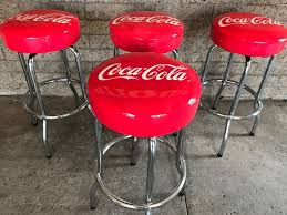 Coca Cola Chairs Set Of 4 Official Coca Cola Red Chrome Bar Stools