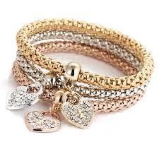 silver crystal heart bracelet images 3pcs set gold silver filled charm crystal heart elastic multilayer jpg