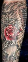 rose flower father and daughter tattoo on half sleeve for men