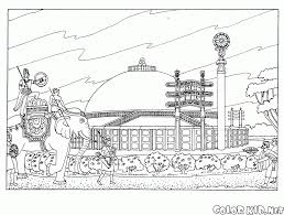Coloring Page Buddhist Architecture Buddhist Coloring Pages