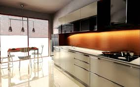 chic straight shape modular kitchen come with orange color grid