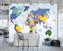 plain decoration world map wall mural sumptuous design inspiration