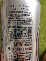 coors light nutritional information coors light beer