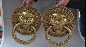 foo dog door knocker 671115311 12 china fengshui brass fu foo dog lion bat statue