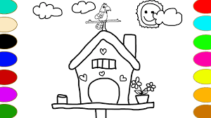 drawing bird house and colorful coloring learn colors coloring